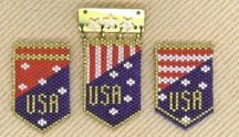 USA Patriotic Pins Pattern by Linda Farber AKA The Jewelry Box at Bead-Patterns.com