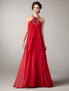 Red formal dress with beading
