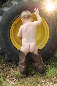 Baby pictures  Tractor  1 year old session  Photography  Farming  John Deere