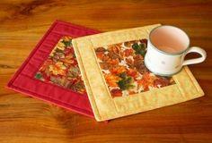 Quilted Fabric Mug Rug Autumn Leaves 2 by PatchworkMill on Etsy