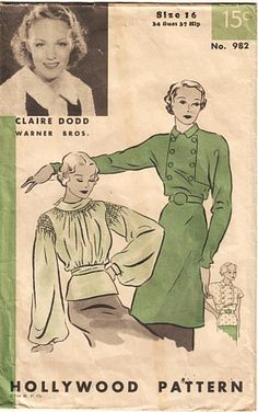 1930s blouse/tunic pattern, Hollywood #982 | Flickr - Photo Sharing!