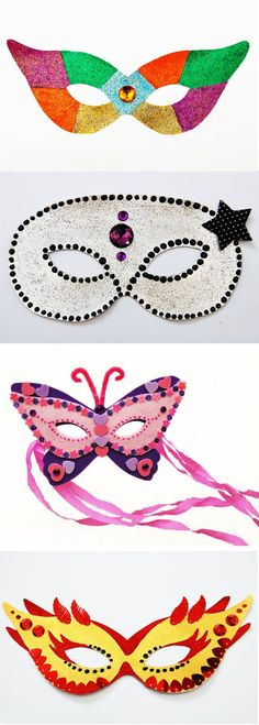 FREE DIY PDF printable print and cut masks butterfly, venetian, superhero, - Mardi Gras, Diy Arts And Crafts, Paper Crafts, Diy For Kids, Crafts For Kids, Diy Masque, Art N Craft, Masks Art, Drawing For Kids