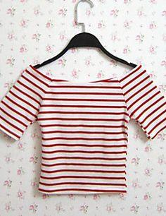 Mulheres Camiseta Casual Sensual / Moda de Rua Verão,Listrado Vermelho / Preto…