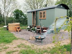 Walk miles of Dorset country footpaths from your door and return to a hot tub and double bed at your remarkable en suite shepherd's hut Tiny House Cabin, Tiny House Living, Tiny House On Wheels, Garden Huts, Canopy And Stars, Summer House Garden, Shepherds Hut, Farm Stay, Small Pools