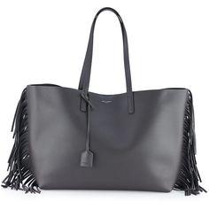 Saint Laurent Large Calfskin Fringe Shopping Tote Bag (16.501.055 IDR) via Polyvore featuring bags, handbags, tote bags, dark gray, tote handbags, yves saint-laurent tote, fringe handbags, fringe tote and tote bag purse