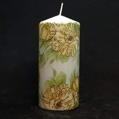 Pillar candle - Golden rose - Floral design – Candle Affair Large Pillar Candles, Burning Candle, Candlesticks, Affair, Unique Gifts, Floral Design, Candle Holders, Make It Yourself, Rose