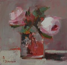Glass jar with Peony roses | oil on board | 20x20cm - Mary Davidson