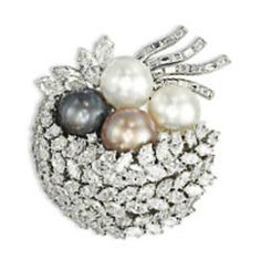 A NATURAL PEARL AND DIAMOND BROOCH, BY HARRY WINSTON
