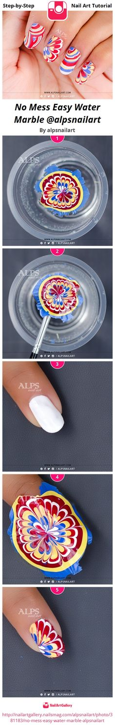 No Mess Easy Water Marble Nails tutorial @alpsnailart   - http://www.alpsnailart.com/water-marble-nail-art-applique-tutorial-alpsnailart/ www.nailsmag.com #nailart #watermarblenails