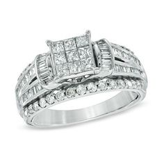 1-1/4 CT. T.W. Princess-Cut Composite Diamond Engagement Ring in 10K White Gold