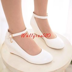 Womens Lady Patent Leather Sweet Wedge Heel Ankle Strap Pumps Casual Shoes