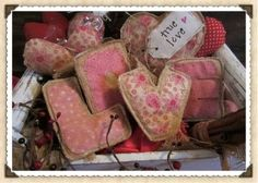 Primitive True Love Letters Heart L O V E Prim Decor Pink Red 5 Valentines Day | eBay