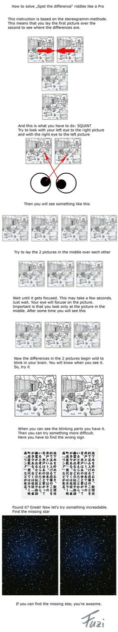 Funny pictures about How to solve 'Spot the difference' riddles. Oh, and cool pics about How to solve 'Spot the difference' riddles. Also, How to solve 'Spot the difference' riddles photos. Spot The Difference Puzzle, Magic Eye Pictures, Eye Tricks, Brain Tricks, Magic Eyes, Useful Life Hacks, Riddles, Different, Mind Blown