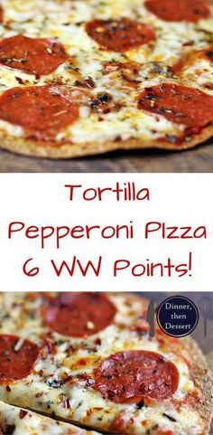 Deliciously melty Pepperoni Pizza baked onto a whole wheat tortilla for only 6 WW points! You won't miss your normal thin crust pizza after you try this for the first time. Weight Watcher Dinners, Aldi Weight Watchers, Weight Watchers Appetizers, Weight Watchers Vegetarian, Weight Watchers Smart Points, Ww Recipes, Healthy Pizza Recipes, Skinny Recipes, Vegetable Recipes