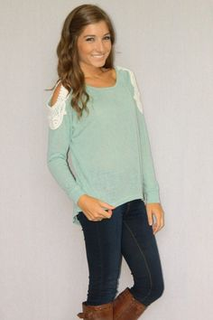Crochet Dreams Sweater (Teal)   Girly Girl Boutique  What a good idea to do the same thing for my sweatshirts! :)))))