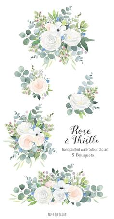 Floral Bouquet Clipart - Watercolor Clip Art flower PNG files - with white roses. Floral Bouquet Clipart - Watercolor Clip Art flower PNG files - with white roses, thistles and eucalyptus leaves Art Floral, Floral Design, Watercolor Flowers, Watercolor Art, Wedding Stationery, Wedding Invitations, White And Pink Roses, Sun Designs, Clip Art