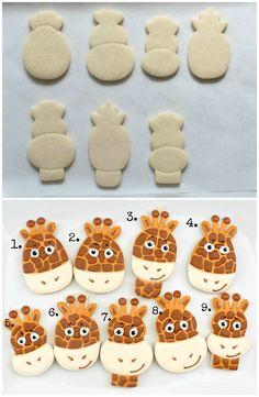 creative giraffe face cookies #diy #crafts www.BlueRainbowDesign.com @Danielle Lampert Lampert Lampert Pickering Maybe for Micah's first birthday :)