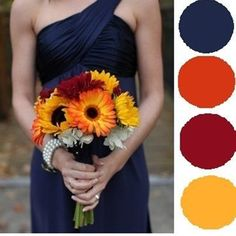 Handmade Sunflower Bouquets and a Navy Blue & Yellow Color Palatte...a Perfectly…