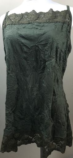 e6b9a1712b1 Maunces Women s Shirt Size 2 Green Plus Sz 2X Crinkle Forest Tank Top Lace  Cami