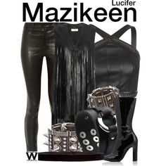 Inspired by Lesley-Ann Brandt as Mazikeen on Lucifer. Polyvore Outfits, Polyvore Fashion, Badass Outfit, Cool Outfits, Fashion Outfits, Women's Fashion, Fandom Fashion, Comic Styles, Complete Outfits