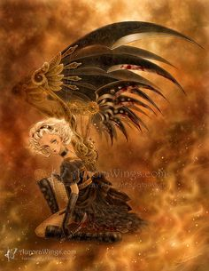 A stunning steampunk image of a girl with a pair of ornately detailed black mechanical wings in shades of gold and brown. This is a reproduction of