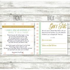 13d583972232 Baby Shower Registry Card - Wording for Unwrapped Gift for Shower - Gift  Tags for Shower Invitation - Elephant Baby Shower - Bridal Shower by  WintsPrints on ...