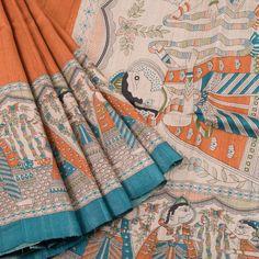 Ghanshyam Sarode Madhubani Printed Tussar Silk Saree 10005505 - AVISHYA