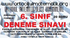 6. SINIF MATEMATİK DENEME SINAVI 1