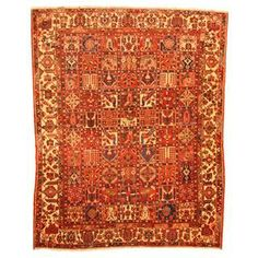Antique 1960's Persian Hand-knotted Tribal Bakhtiari Rust/ Ivory Wool Rug (9'3 x 12')