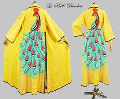 Excited to share the latest addition to my boudoir shop: 40s Peacock Chenille Robe S M Vintage Colorful Bathrobe