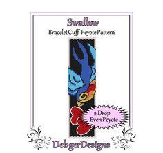 Swallow  Beaded Peyote Bracelet Cuff Pattern by FUNPATTERNDESIGNS