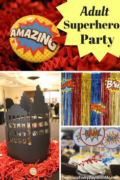 Fantastic Decorating Ideas for an Adult Superhero Party Looking for creative ideas for an adult superhero party? You've come to the right place! Check out the centerpieces, diy photo booth and room decor for our fun parents' night out event. Adult Superhero Party, Superhero Halloween, Adult Party Themes, Superhero Ideas, Halloween Ideas, Superhero Centerpiece, Superhero Party Decorations, Room Decorations, Superhero Party Favors
