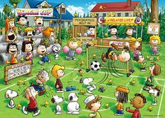 kumiemon: 500 pieces jigsaw puzzle PEANUTS Snoopy soccer - Purchase now to accumulate reedemable points! Charlie Brown Cafe, Charlie Brown And Snoopy, Snoopy Love, Snoopy And Woodstock, Snoopy Characters, Snoopy Comics, Puzzle Shop, Snoopy Pictures, 100 Piece Puzzles