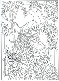 Peacock coloring page, for adults 7/31