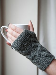 TriKar - on Etsy Woolen Knitted Cable Fingerless Gloves Wrist Warmers - Multiple Colours Available