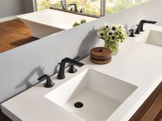 Collection: Sotria • Finish: Matte Black • Product: Closed Spout Widespread Lavatory Faucet • Space designed by: Katrina Stumbos