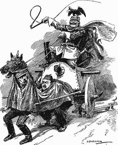 In this comic, the German Kaiser is shown driving the Ottoman Empire like one would a horse. This reflect the nature of the alliance, where the power is not very balanced, Germany having the upper hand.