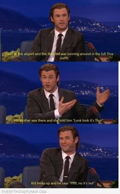 Chris Hemsworth on dealing with infant fans More memes, funny videos and pics on Marvel Jokes, Funny Marvel Memes, Avengers Memes, Memes Humor, Dc Memes, Funny Shit, The Funny, Funny Jokes, Funny Stuff