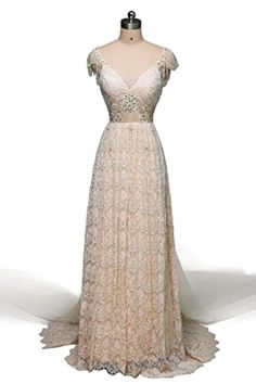 JAEDEN Cap Sleeve Lace Wedding Dress Sexy Bridal Gown BacklessChampagne US16W - Brought to you by Avarsha.com