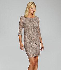 Marina Sequin-Lace Dress | Dillards.com