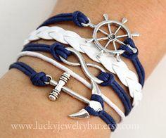 rudder bracelet Infinity bracelet anchor by LuckyJewelryBar