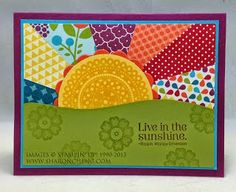 This Sunshine and Happy Days card is easy to make with Stampin& Up!& Summer Smooches Designer Series Paper, Big Shot Die and Circle Punch. Scrapbooking, Scrapbook Cards, Cricut Cards, Stampin Up Cards, Paper Cards, Fabric Cards, Fabric Postcards, Card Making Inspiration, Creative Cards