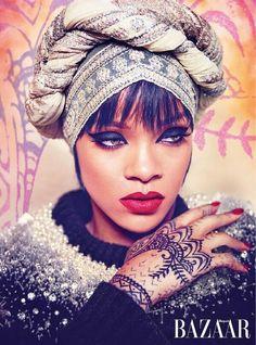 Rihanna Covers Up, Rocks a Mean Cat Eye for Harper's Bazaar Arabia | Beauty Blitz