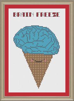 Brain freeze funny ice cream crossstitch by nerdylittlestitcher, $3.00