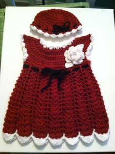 Red Christmas - holiday - Santa  crochet baby dress & hat