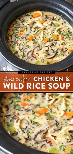 127 reviews · 8 hours · Serves 8 · Bust out your slow cooker for some hearty comfort food! Full of chicken, wild rice, and extra mushrooms, this creamy soup is already a complete crockpot meal. Save this easy recipe for the best family… Slow Cooker Recipes, Crockpot Recipes, Soup Recipes, Chicken Recipes, Cooking Recipes, Crockpot Dishes, Chili Recipes, Delicious Recipes, Cooking
