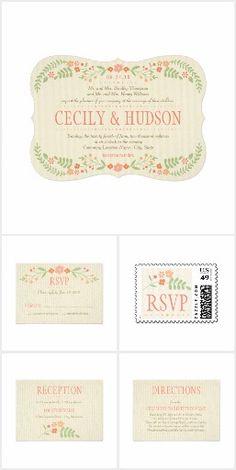 Country Florals Peach Blush Coral Wedding Invitation Suite
