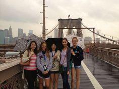 Participants of the Barnard Pre- College Programs enjoy a day walking the Brooklyn Bridge!