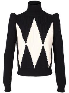 Harlequin-esque print sweater, love the sculpted shoulder
