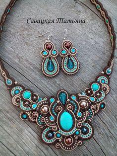 Turquoise Brown Soutache Set-Soutache Turquoise by MagicalSoutache